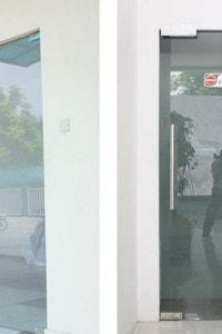Маятниковая стеклянная дверь №12