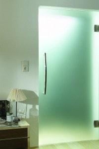 Маятниковая стеклянная дверь №1